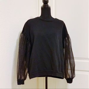 H&M black sweater tulle sleeves XL
